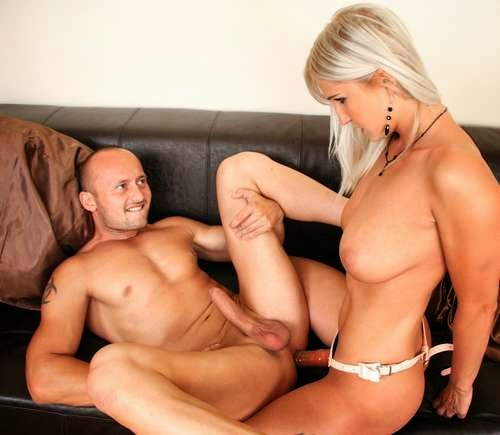 Woman Fuck Man With Dildo 77