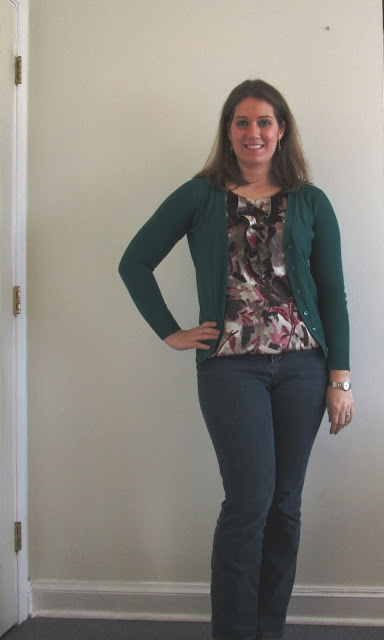 Understated Classics Floral Blouse+Emerald Cardigan