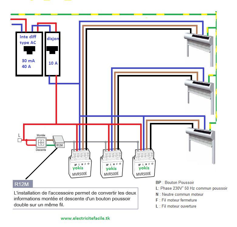 Centralisation de volets avec micromodules schema electrique - Branchement volet roulant electrique 4 fils ...