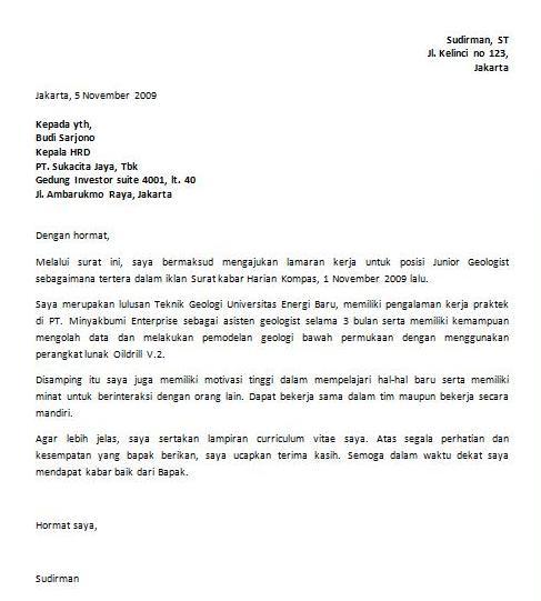 Surat Lamaran Calon Pegawai Negeri Sipil