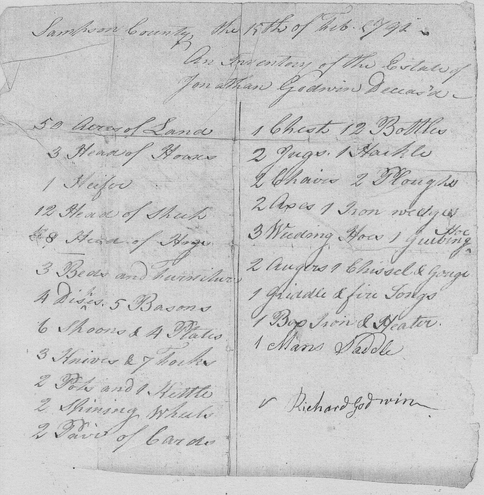 Estate Records of Jonathan Godwin of Sampson County, NC - 2