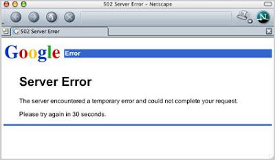 Layanan Google Error /  Down Beberapa Menit Hari ini