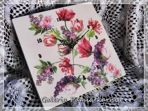 Zegar Na Ścianę Ręcznie Malowany Decoupage Kwiaty Wiosenny Bukiet