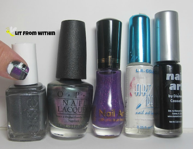 bottle shot:  Essie Cashmere Bathrobe, OPI Peace Love & OPI, and stripers in Purple glitter (Milani), white, and black.