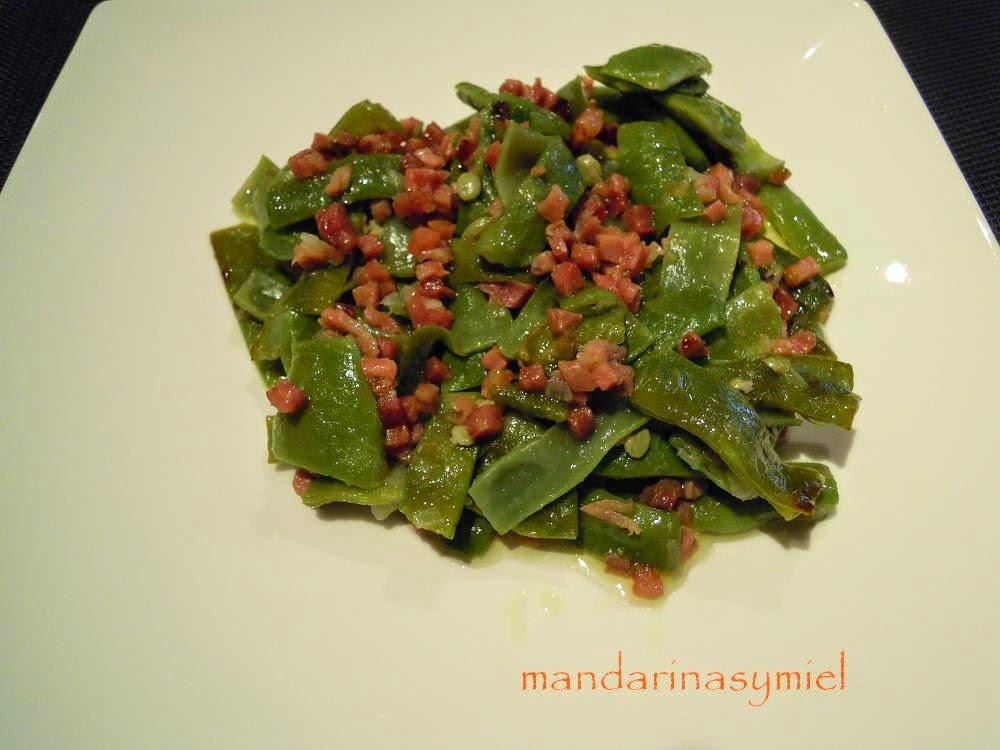 Judias verdes con jam n for Cocinar judias verdes de bote