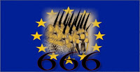 a graphic of the EU flag with the Beast of Revelation with ten horns and the little horn within the 12 stars and 666 written in capital black letters