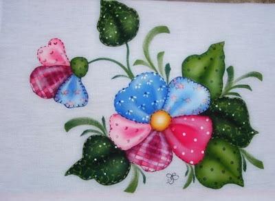pintura em tecido folk art patch apliqué