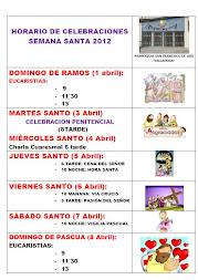 Horario de celebraciones Cuaresma 2012