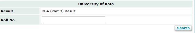 Kota University BBA Part 3 Result 2013