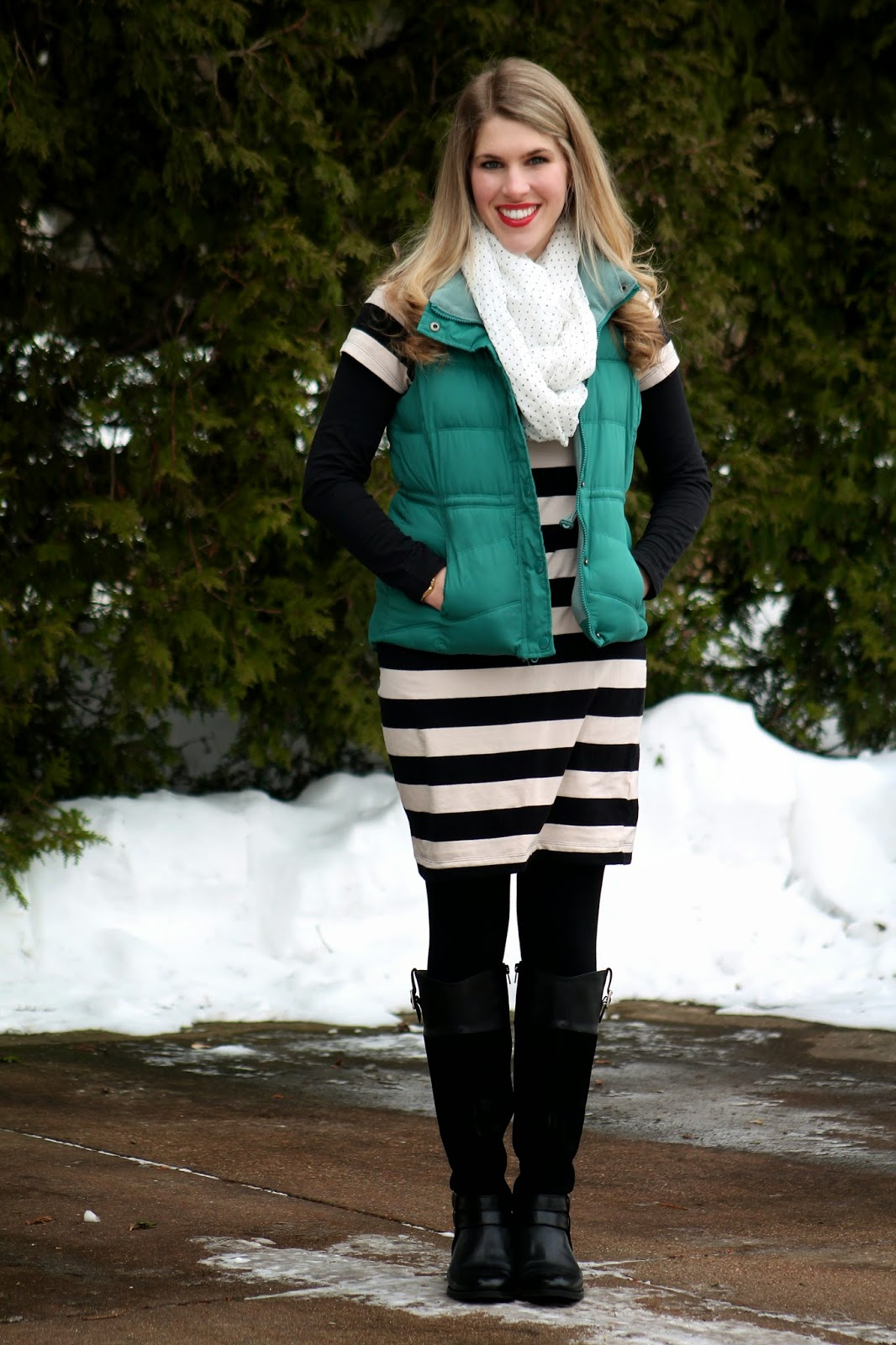 black and white striped dress with puffer vest