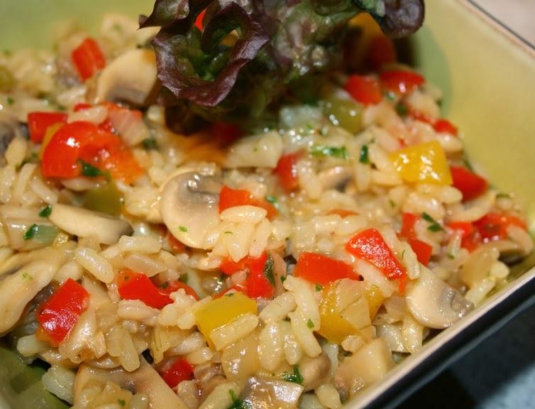 Risoto de Cogumelos e Pimentão (vegana)