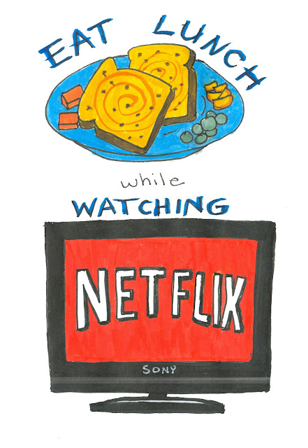 Raisin Toast, Mandarin Orange Slices, Grapes, and Cheddar Cheese Lunch. Television with Netflix on it. Watercolour and Ink by Ana Tirolese ©2012