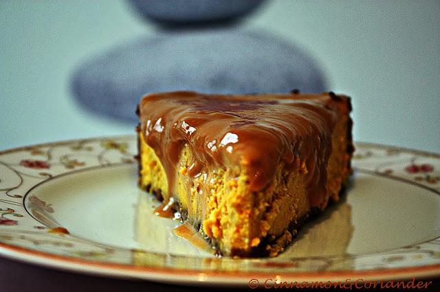 Pumpkin dulce de leche cheesecake