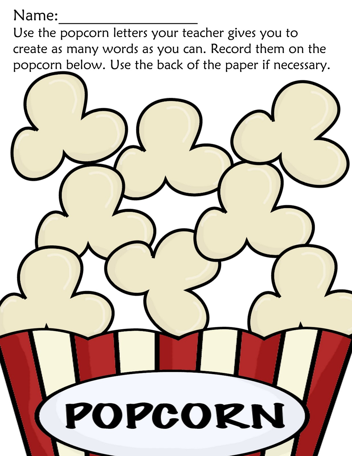 Versatile image with regard to popcorn printable