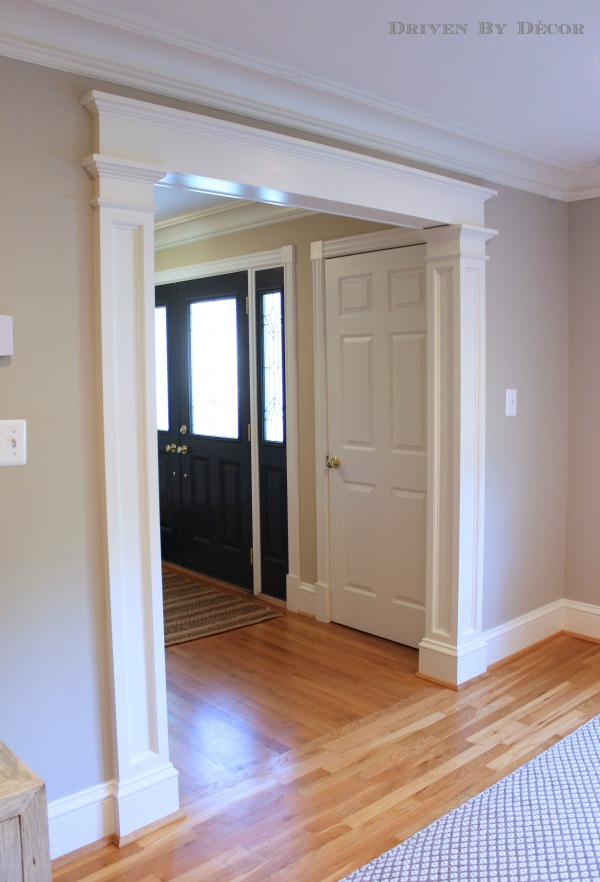 A foyer before and after driven by decor for Over door decorative molding