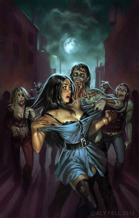 aly fell ilustrações mulheres sensuais fantasia sombria Terror zumbi
