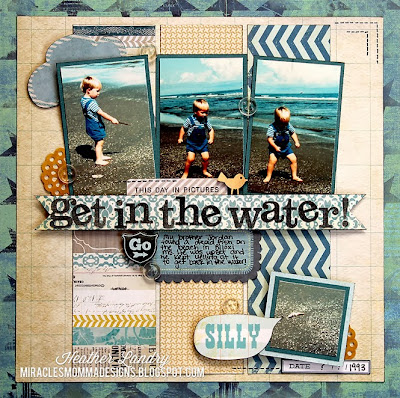 Beach Layout_Silly Boy_Fish_Scrapbook Page