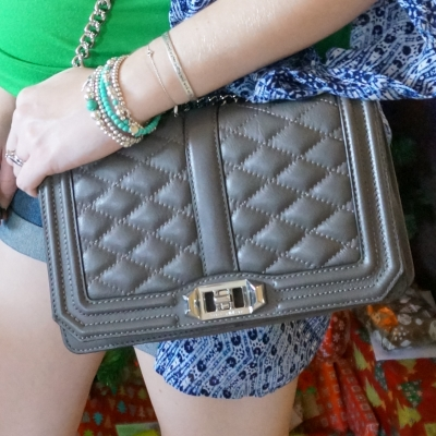 AwayFromTheBlue | Silver and turquoise tiffany bracelet stack Rebecca Minkoff quilted Love cross body bag