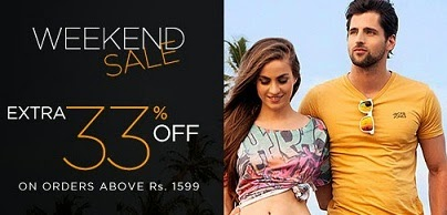 Myntra Weekend Sale: Flat 33% Extra Off on Cart Value of Rs.1599 or above