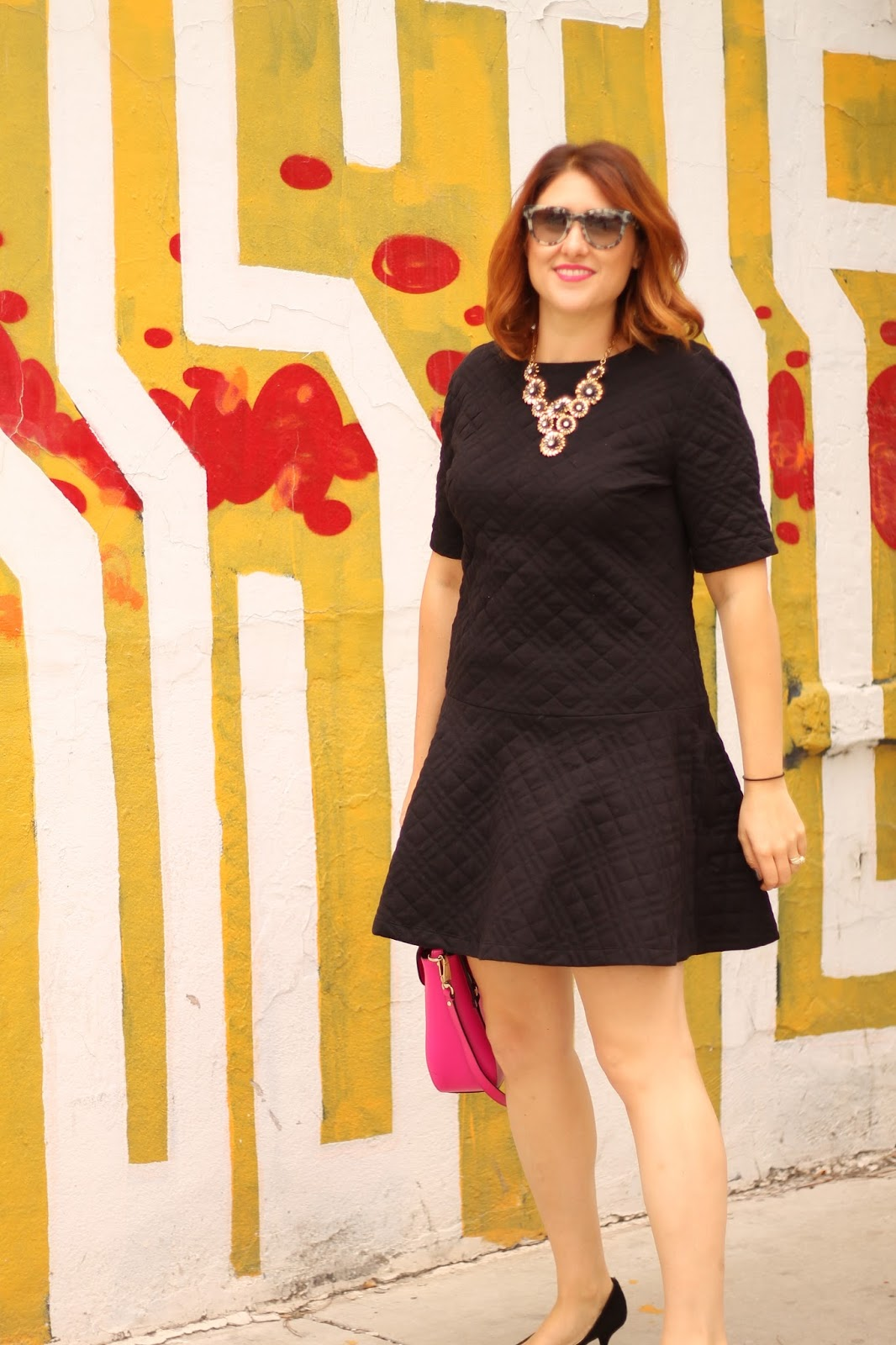loft, quilted, flippy, dress, black