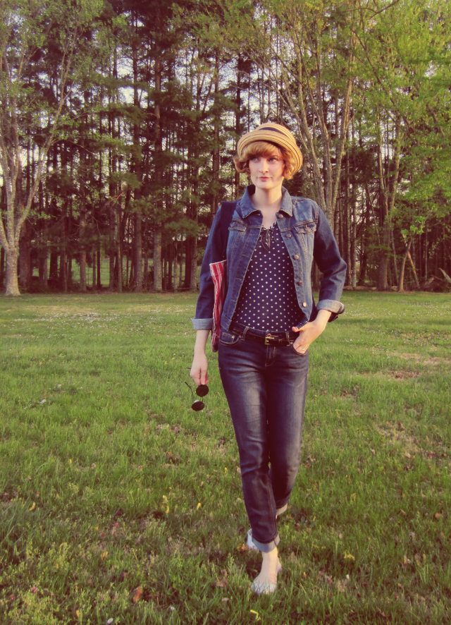 Denim jacket and cute straw hat