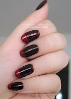 Black w/ red zebra stripes and red tips
