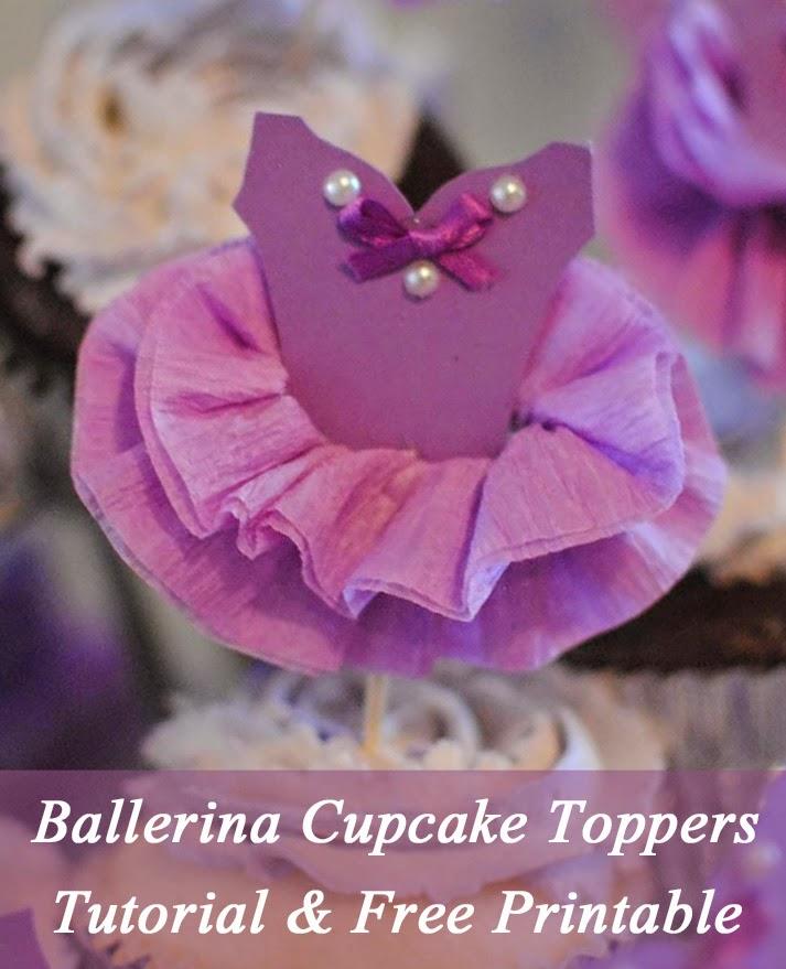 Ballerina Tutu Cupcake Toppers: DIY Tutorial & Free Printable
