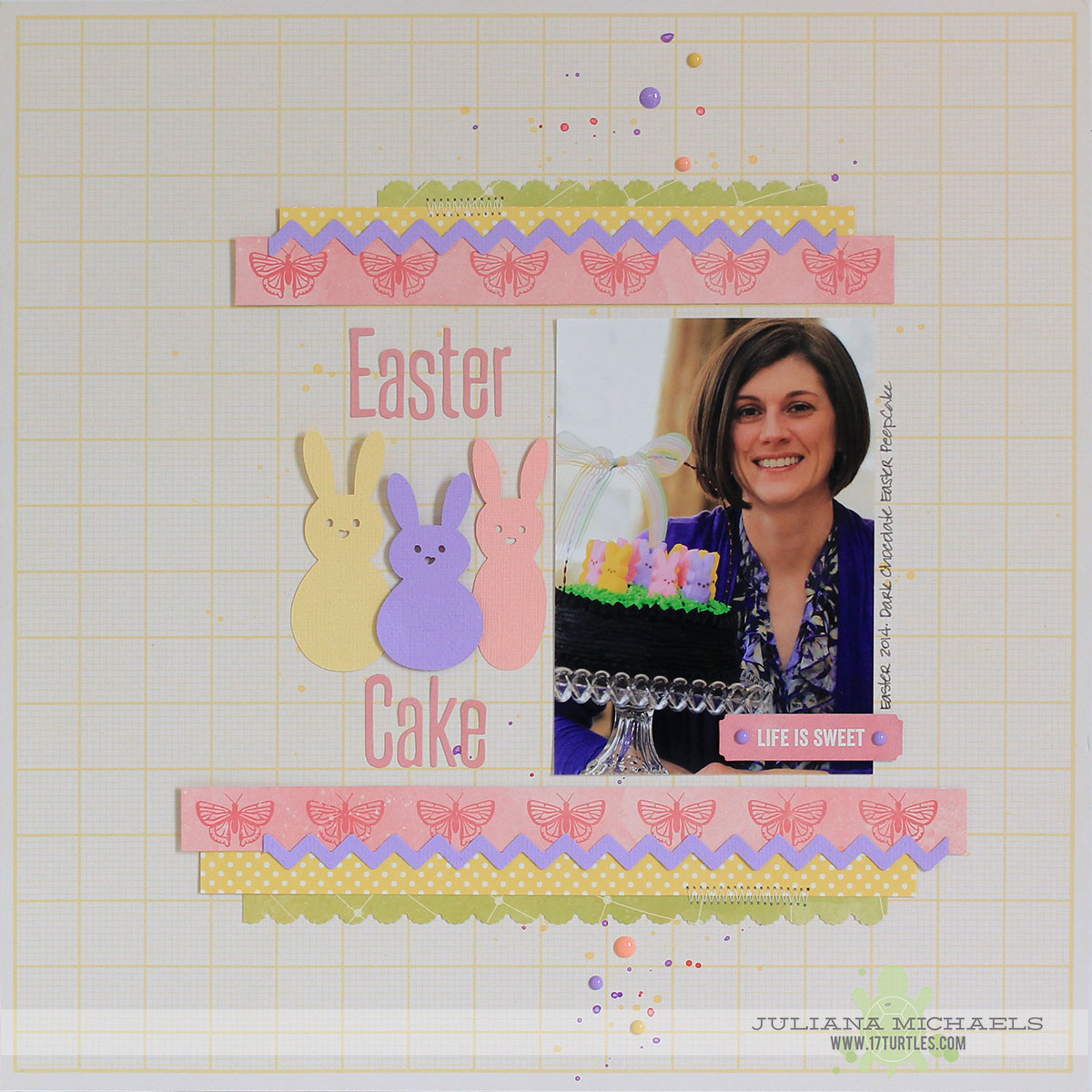 Easter Peep Cake Scrapbook Page created for the Paper Issues Eggs-cellent Add-Venture Linky Party by Juliana Michaels featuring 17turtles Digital Cut File and Jillibean Soup