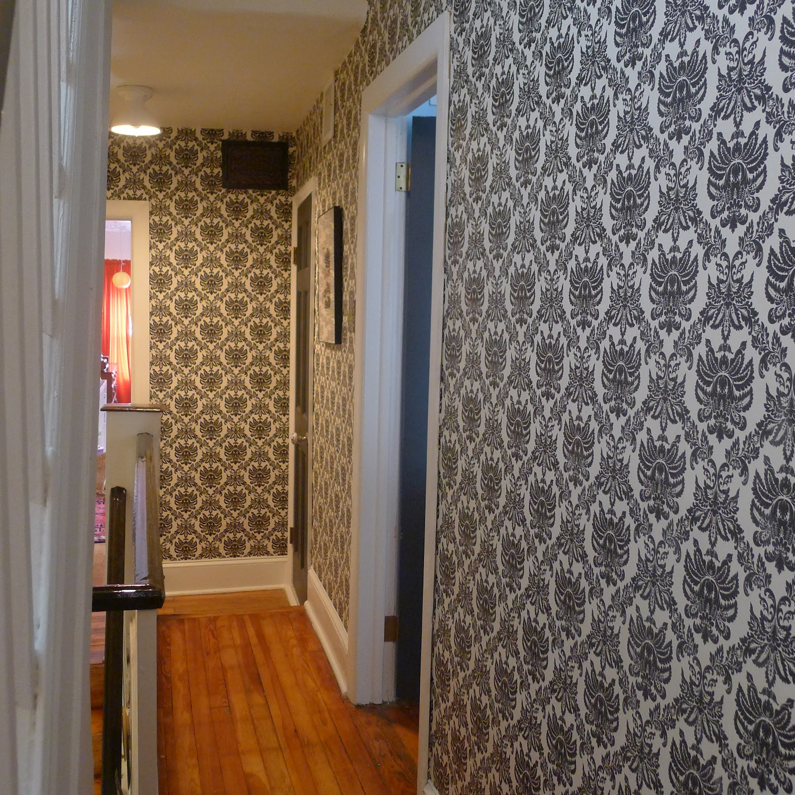 Wallpaper Designs For Hall : South philly renovation wallpaper in the hallway