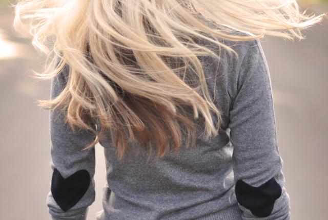 heart elbow patch sweater, boyfriend jeans