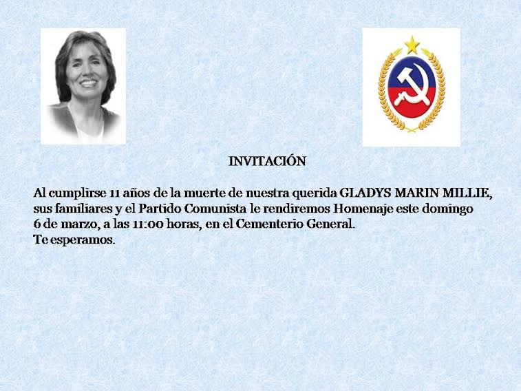 INVITACION HOMENAJE A GLADYS MARIN