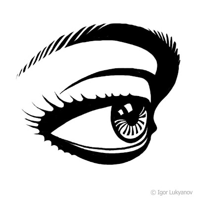 eye drawing, stencil style