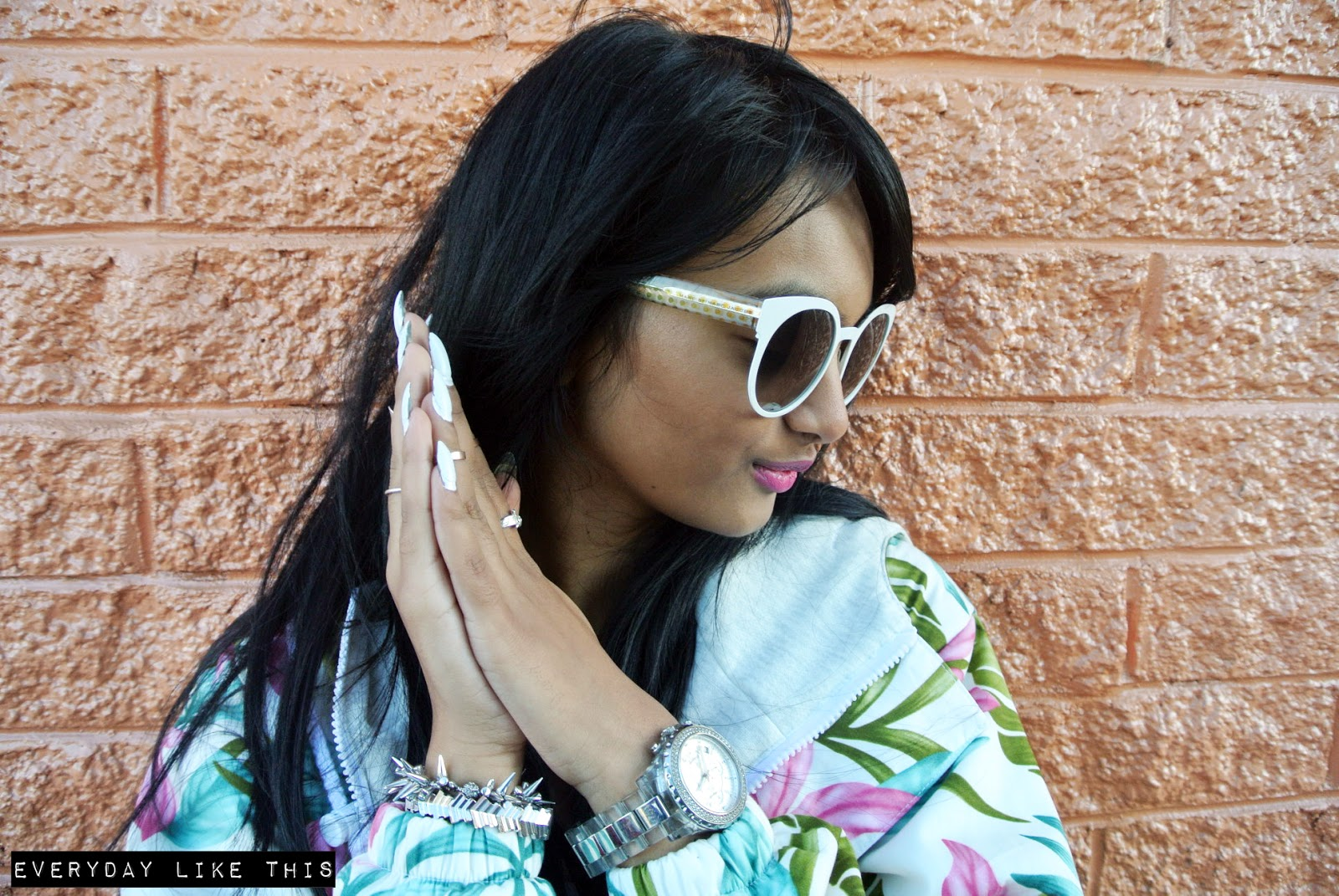 Vision Direct Marc by Marc jacobs no fun babe fashion blogger melbourne everyday like this fashion ootd tropical parker michael steve madden heels rihanna all white crop asos kors claws nails sunnies pink lipstick hip hop style fashion