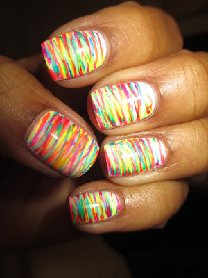 fan brush, neon, highlighter, stripes, bright, colorful, fun, nail art, nail design, mani