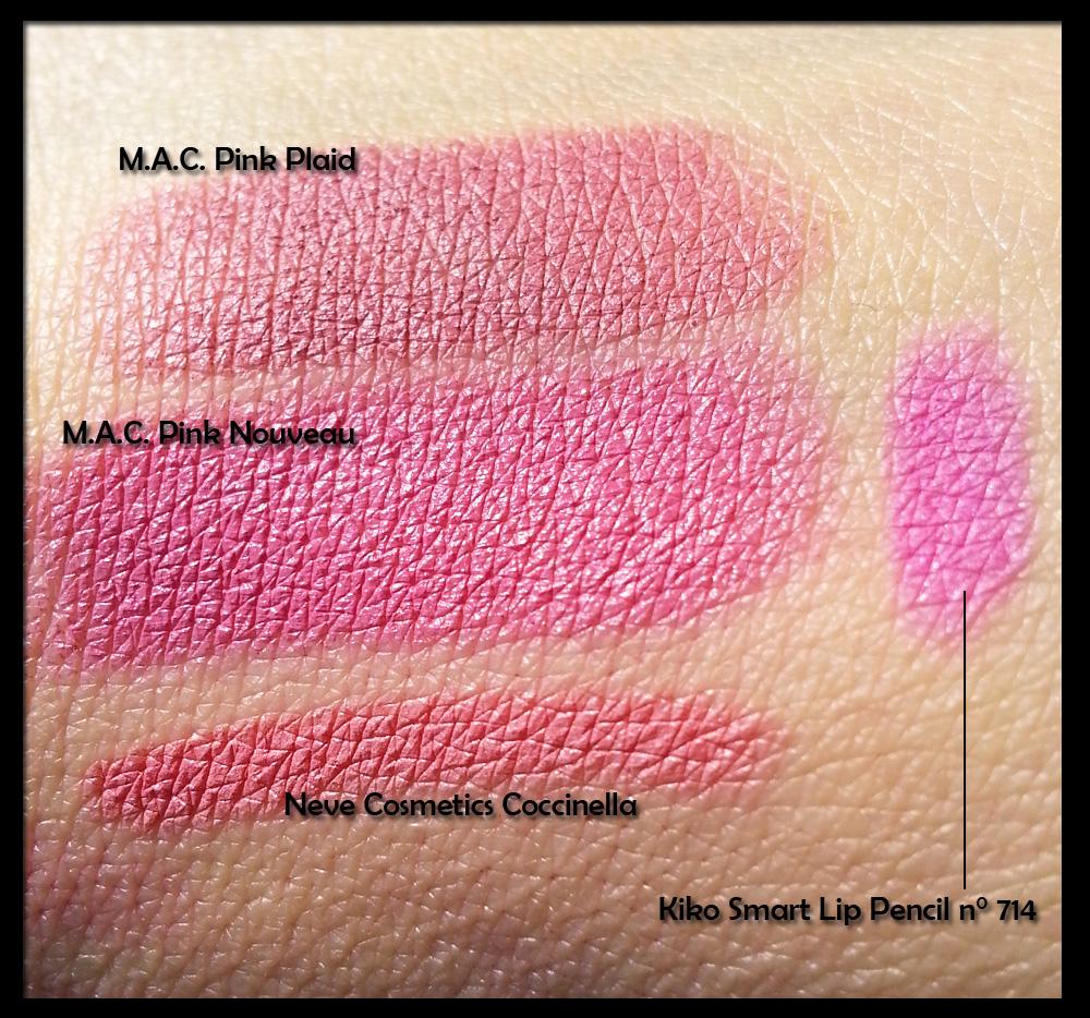Confronto tra MAC Pink Nouveau, Pink Plaid, Coccinella di Neve e Smart Lip Pencil n° 714 di Kiko