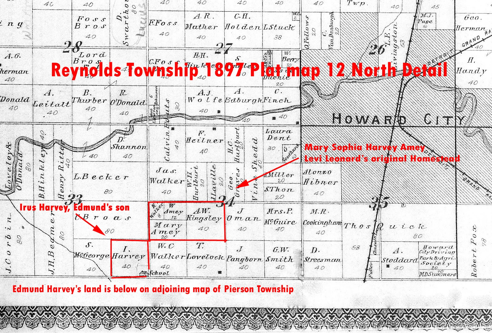 an 1897 plat of the reynolds township shows the land levi gave to mary and archie mary has given or sold some of it to her husband william amey