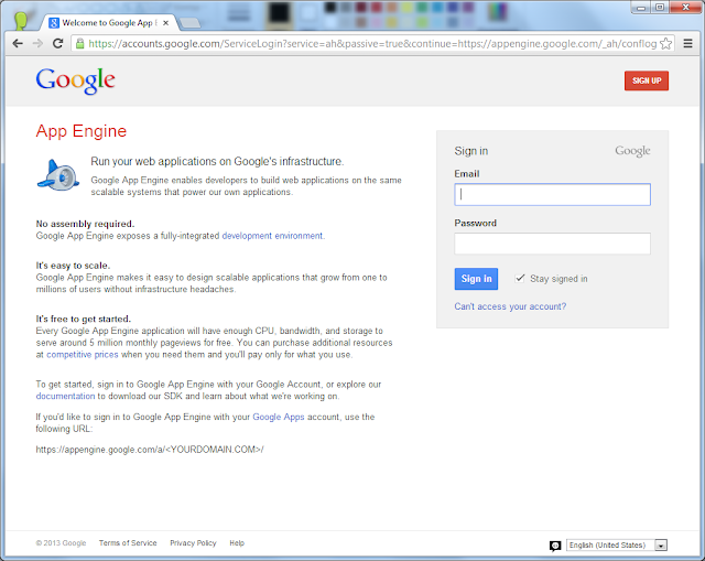 Google App Engine: Sign In