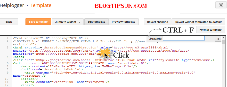 blogger template, ctrl + f, search box
