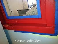 Retro kitchen makeover distressed red window