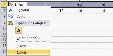 Como deleto uma linha da planilha do Excel