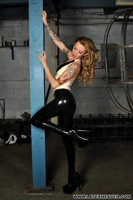Long Latex Legs Shining in the Dungeon Light Latex Blonde in Black
