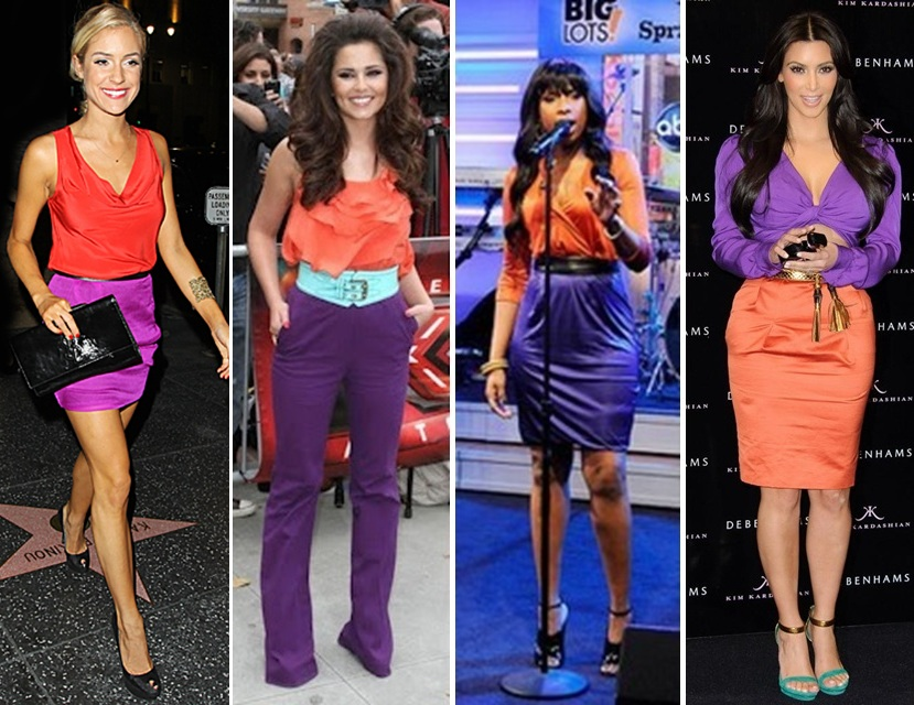 What colors match orange clothing pictures for What color matches with purple