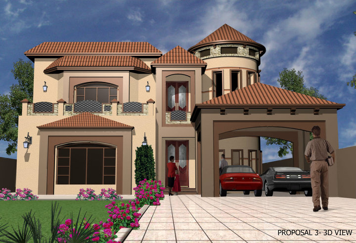 kanal , 2 Kanal , 3D House Front Elevation 12