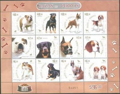2007年メキシコ合衆国 ブルドッグ ロットワイラー ボクサー ビーグルの切手シート