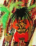 "PATRICIA ANN WILSONl "" Rasta Drummer, Tiger Stripped Vest"""