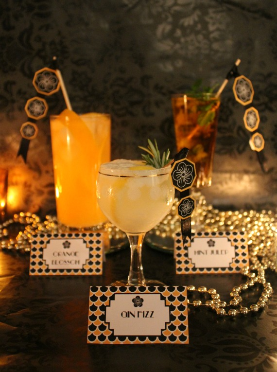 Black and Gold Art Deco style cocktail Party with FREE printables by Love That party. www.lovethatparty.com.au