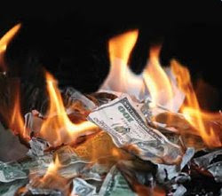 Pile of burning cash