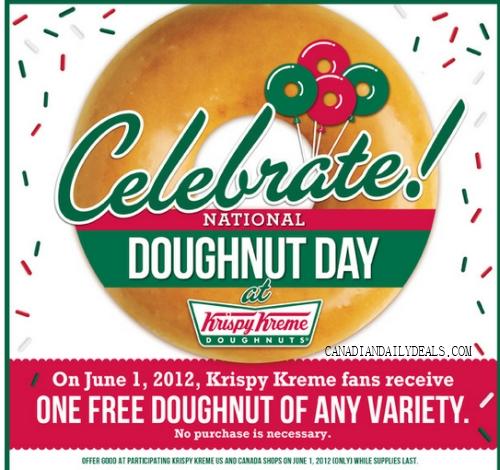 canadian daily deals krispy kreme free doughnut national. Black Bedroom Furniture Sets. Home Design Ideas