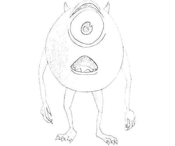 Disney monsters inc printable coloring pages coloring for Mike wazowski coloring page
