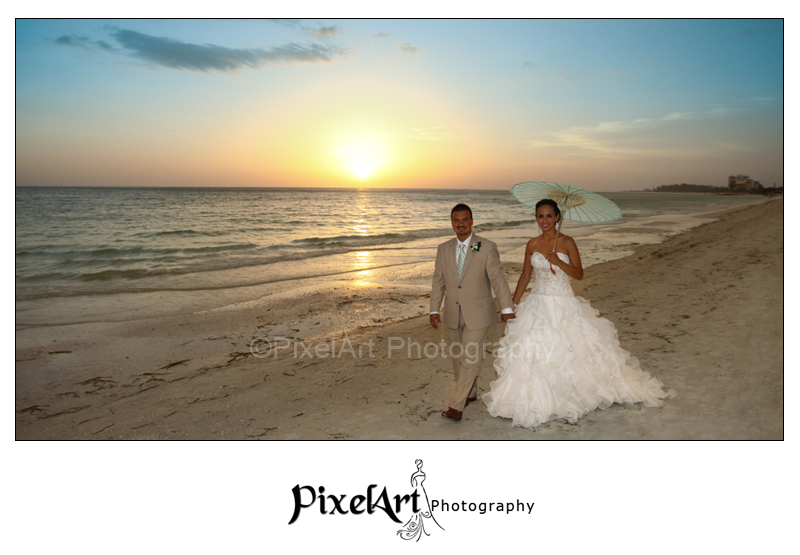 Ritz Carlton Wedding couple on beach